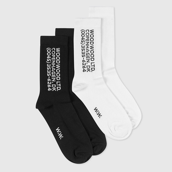 Wood Wood Gail Socks 11939005-9517 WHITE/BLACK